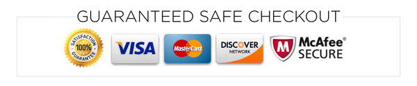 Safe checkout with Visa, AMEX, MC, Discover, PayPal